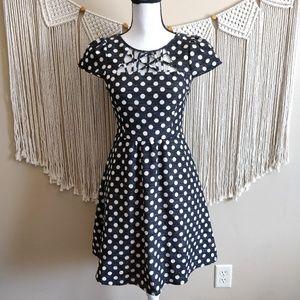 Anthropologie Maeve Nikola Black Polka Dot Dress 0
